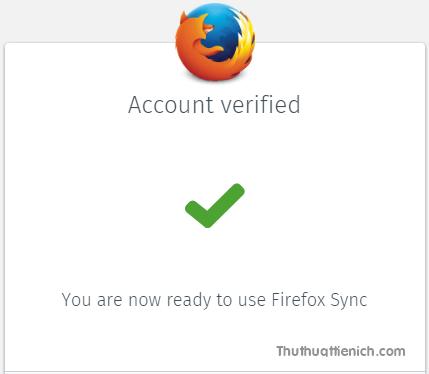 Tài khoản Firefox của bạn đã được tạo thành công