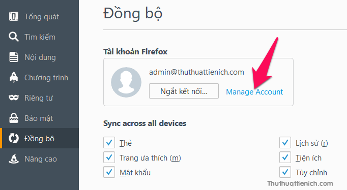 Nhấn tiếp vào dòng Manager Account trong phần Tài khoản Firefox