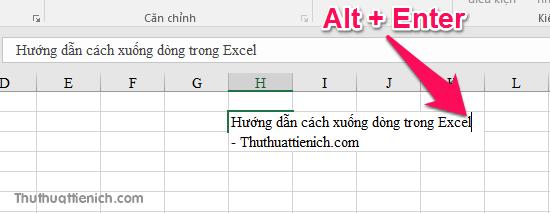 Để ngắt dòng trong Excel, bạn chỉ cần nhấn tổ hợp phím Alt + Enter