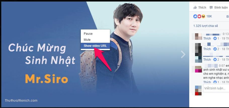 Nhấn chuột phải lên video trên Facebook bạn muốn tải về máy tính chọn Show video URL