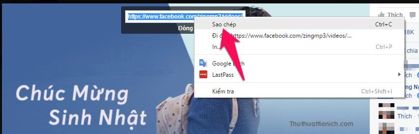Copy URL của video bằng cách nhấn chuột phải lên URL của video chọn Sao chép