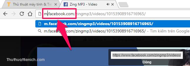 Thay thế www trong URL bằng chữ m sau đó nhấn nút Enter