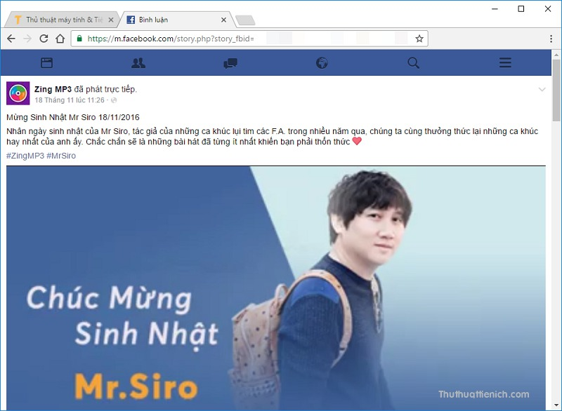 Mở video với giao diện mobile của Facebook