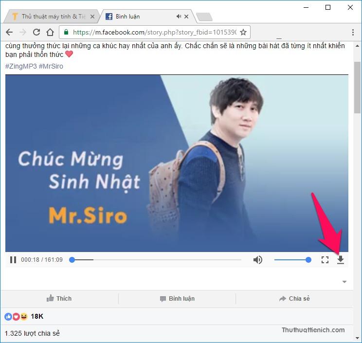 Nhấn nút download (mũi tên xổ xuống) góc dưới bên phải video để tải video về máy tính