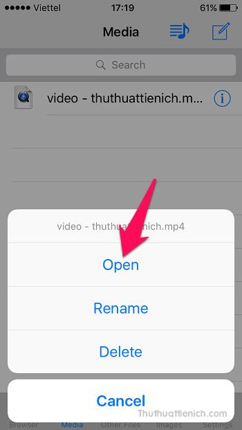 Sau khi nhấn nút (i) sẽ có các tùy chọn Open (mở, chia sẻ), Rename (đổi tên) và Delete (xóa)
