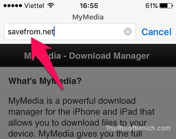 Mở ứng dụng My Media vừa cài đặt, nhập liên kết savefrom.net lên thanh địa chỉ của ứng dụng (phần Browser)