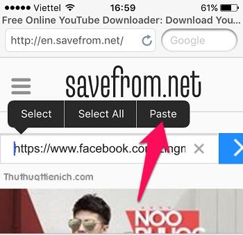 Paste liên kết video vừa sao chép ở trên vào khung Enter the URL