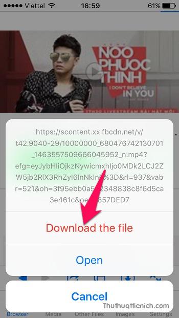 Sau khi chọn định dạng video muốn tải về, sau đó nhấn nút Download the file