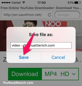 Nhập tên cho video rồi nhấn nút Save