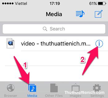 Chọn tab Media -> nhấn nút (i) bên phải video muốn sửa