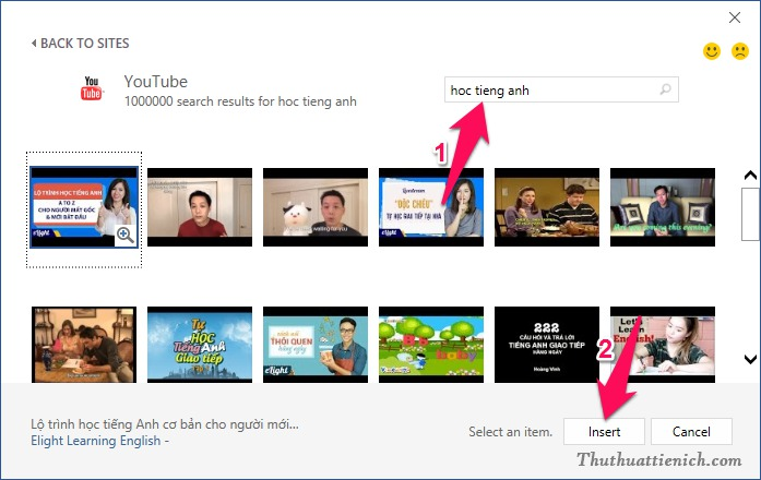 Tìm kiếm và chèn video vào Word