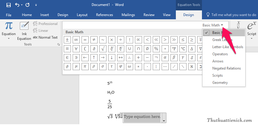 Nhấn nút mũi tên xổ xuống bên cạnh nút Basic Math để xem thêm nhiều công thức toán học hơn