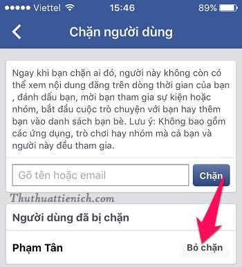 Nhấn nút Bỏ chặn bên phải tài khoản Facebook bạn muốn bỏ chặn