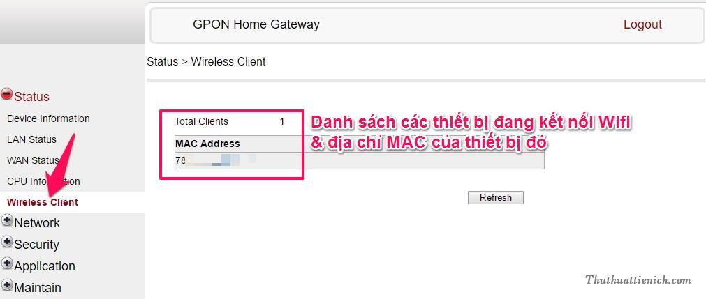 Xem các thiết bị đang sử dụng Wifi (bao gồm địa chỉ MAC)