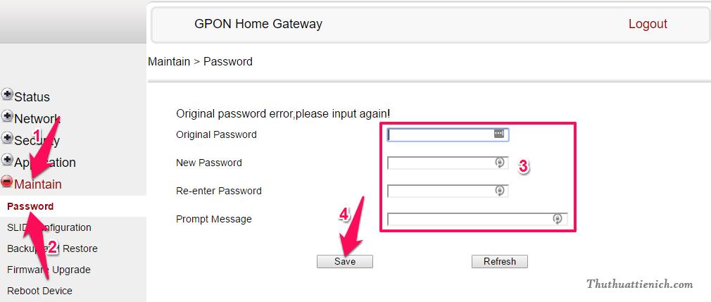 Đổi mật khẩu đăng nhập Modem Gpon