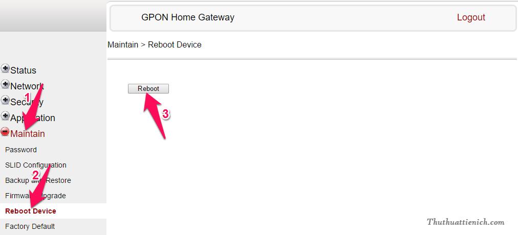 Khởi động lại Modem từ xa, không cần rút dây hay nhấn nút cứng trên Modem
