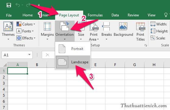 Chọn Page Layout trên thanh công cụ, nhấn nút Orientation, sau đó chọn Landscape