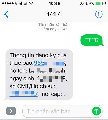 Tin nhắn trả về từ 1414 với các thông tin của thuê bao bạn đang dùng