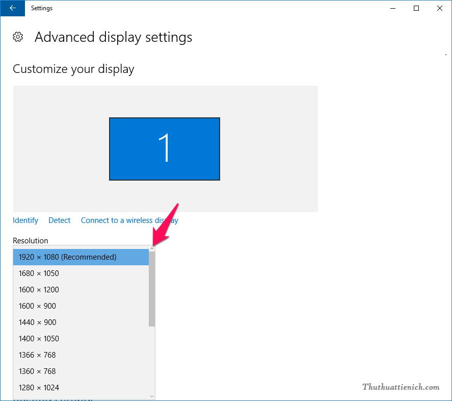 Bạn thay đổi độ phân giải màn hình trong phần Resolution