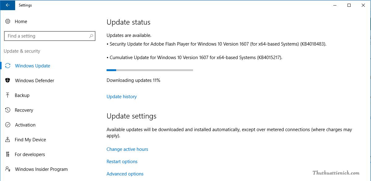 Cập nhật Windows 10 Creators thông qua Windows Update
