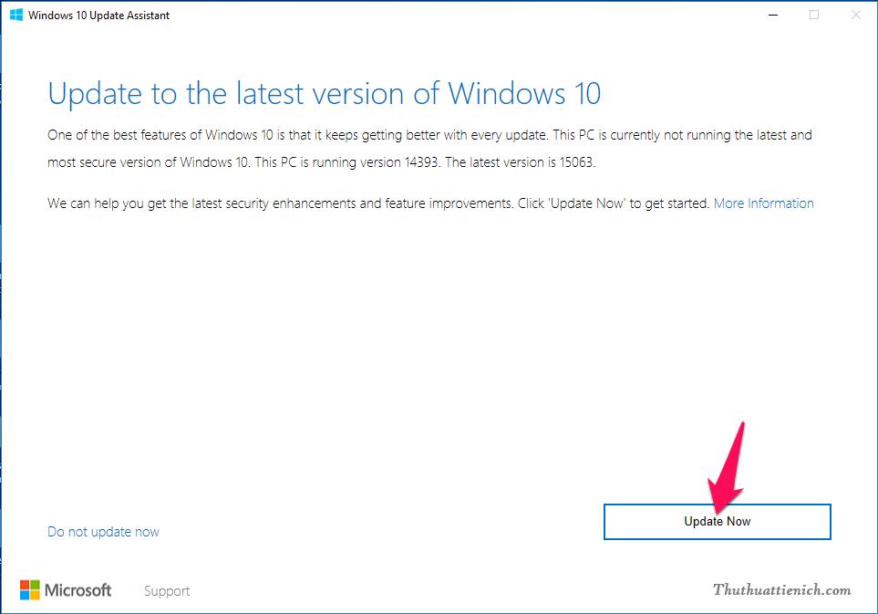 Sau khi Windows 10 Update Assistant được khởi chạy. Bạn nhấn nút Update now