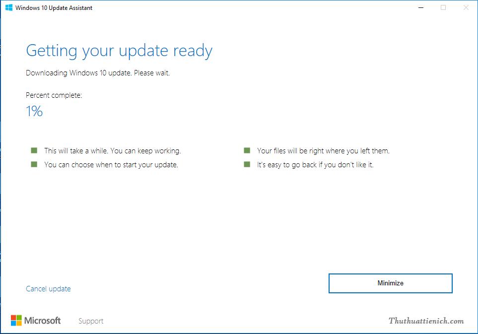Bắt đầu quá trình tải về và cài đặt Windows 10 Creators