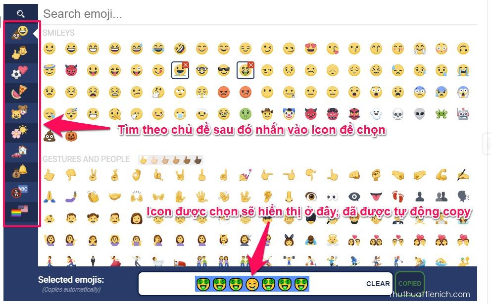 Chọn icon Facebook bạn thích, nhấn chọn, lúc này những icon được chọn sẽ hiển thị trong khung Selected emojis, và đã được tự động copy (sao chép)