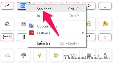 Bạn nhấn chuột trái lên ký hiệu của Icon rồi nhấn chuột phải chọn Sao chép