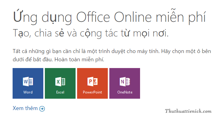 Office Online thay thế bộ công cụ Office