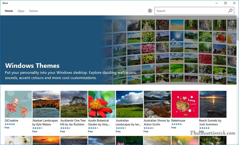 Lúc này Windows Store sẽ được mở và đưa bạn đến kho hình nền máy tính ( Windows Themes)