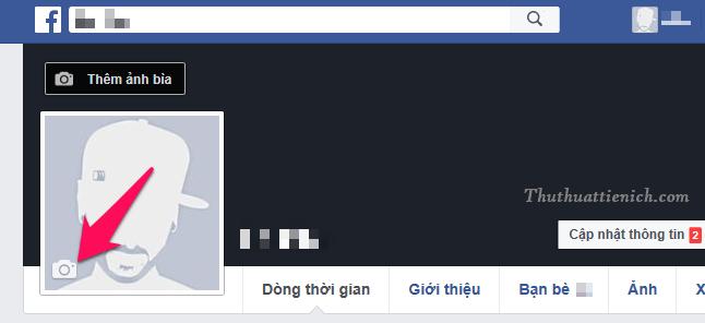 Mở trang cá nhận Facebook của bạn, nhấn vào nút hình máy ảnh góc dưới bên trái ảnh đại diện