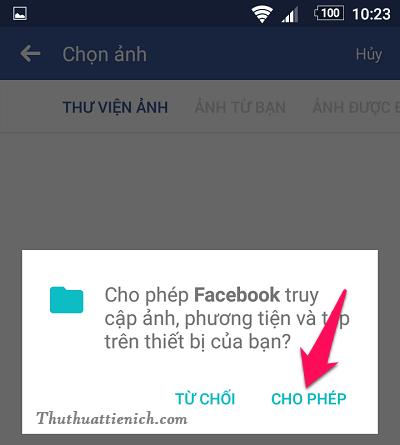 Nhấn nút Cho phép để cấp quyền cho Facebook truy cập ảnh