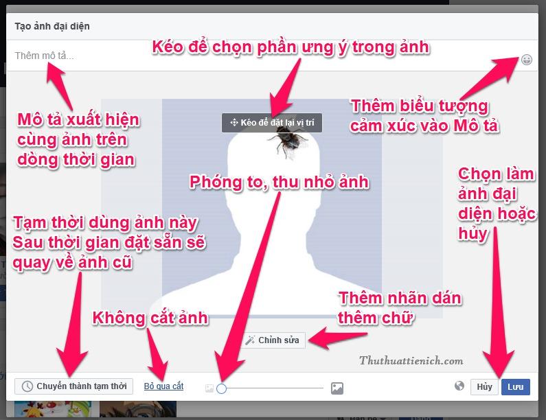 Các công cụ chỉnh sửa ảnh đại diện Facebook