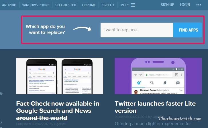 Trang web giúp tìm kiếm phần mềm thay thế