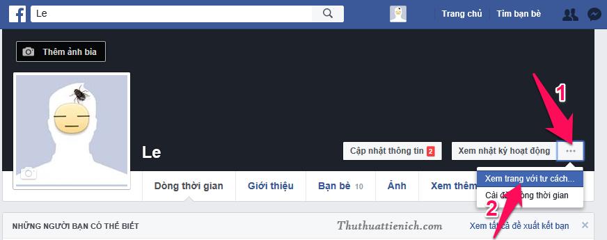 Mở trang Facebook của bạn nhấn nút ... (3 chấm) góc bên phải nút Xem nhật ký hoạt động chọn Xem trang với tư cách...
