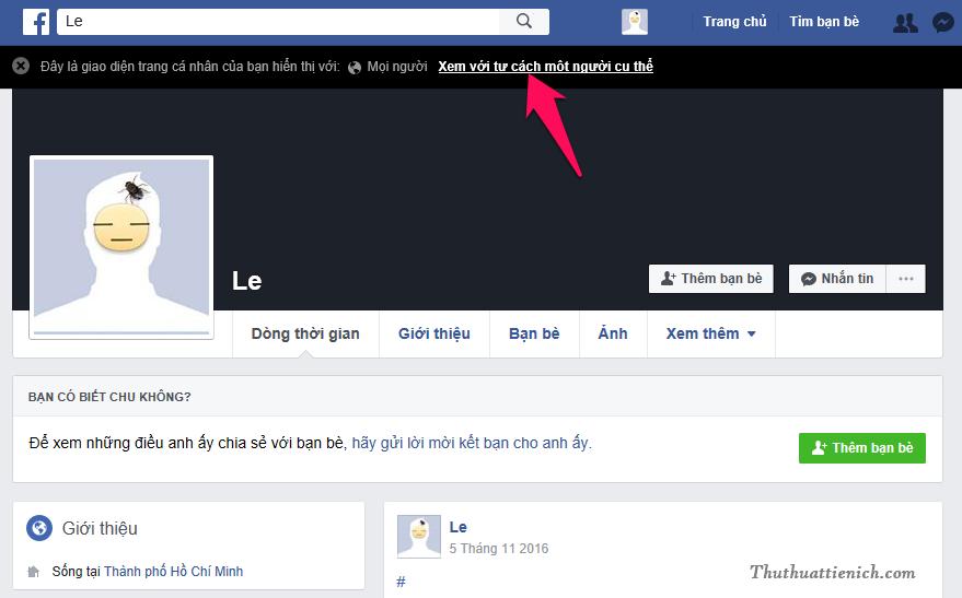 Lúc này bạn xem Facebook của bạn với tư cách bất kỳ người nào. Nếu bạn muốn xem với tư cách một người cụ thể (trong danh sách bạn bè của bạn) thì nhấn vào dòng Xem với tư cách một người cụ thể