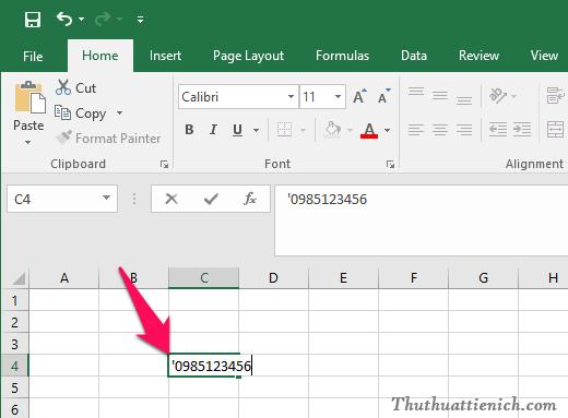 Để số 0 không bị mất đi khi thêm vào đầu ô Excel, bạn chỉ cần viết thêm dấu ' vào trước nó