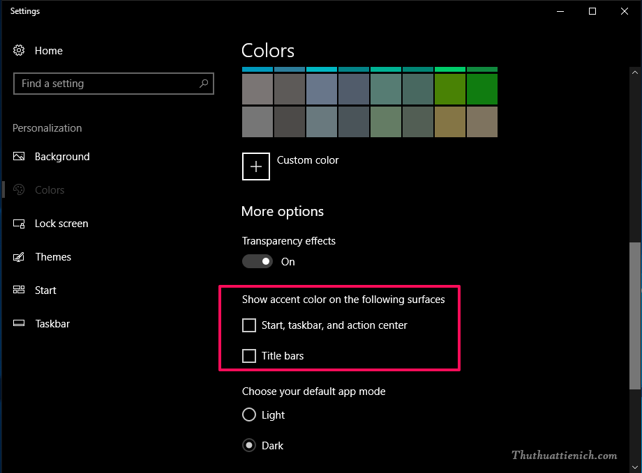 Tùy chỉnh các tùy chọn cho Windows Color