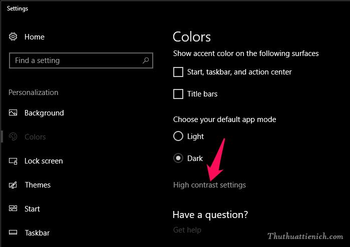 Vẫn trong phần Color, bạn nhấn vào dòng High contrast settings