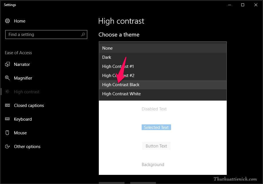 Chọn một mẫu giao diện theo ý bạn, để phù hợp với chế độ Dark Mode thì bạn nên chọn High Contrast Black