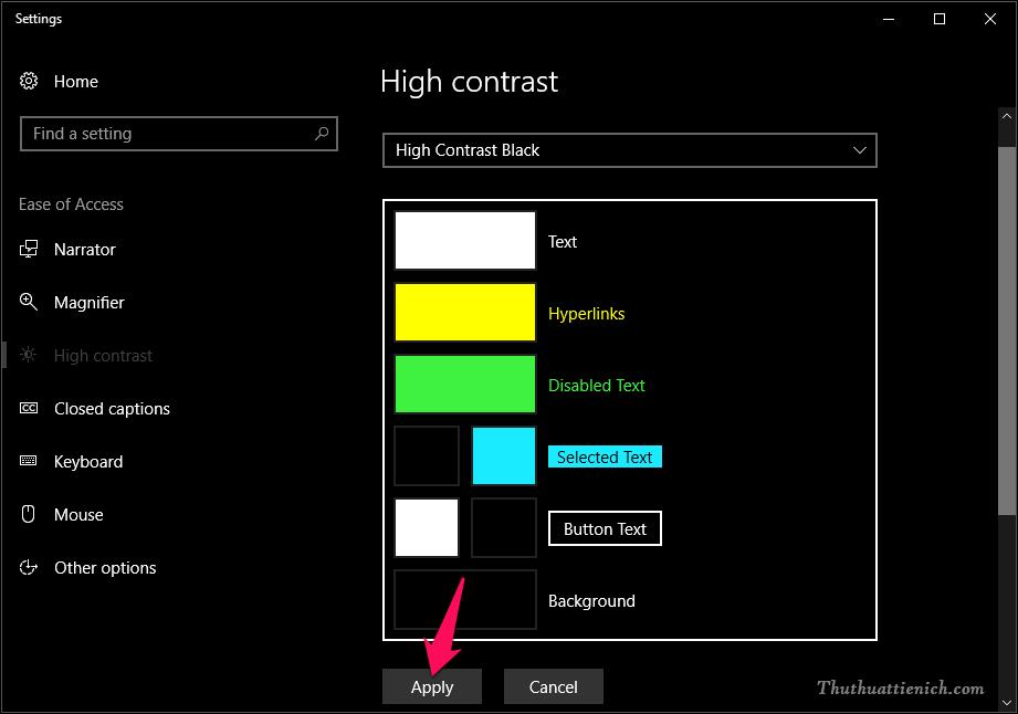 Nhấn nút Apply để lưu lại thay đổi, hoặc bạn cũng có thể thay đổi màu sắc theo ý mình