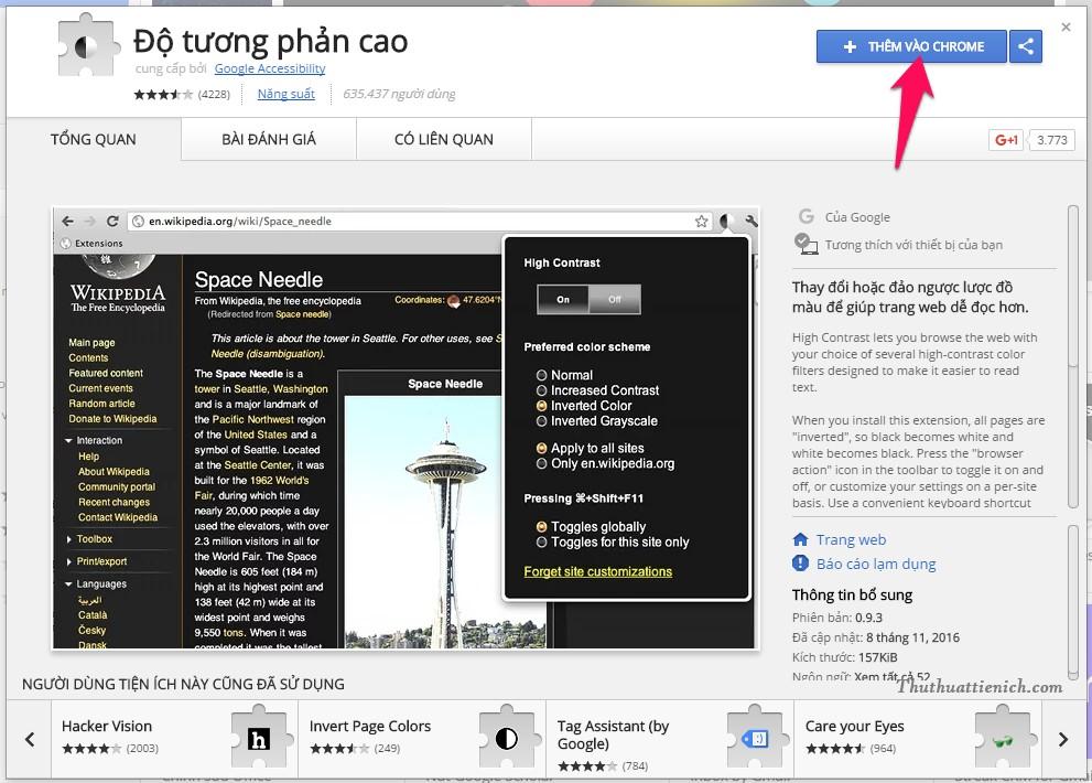 Nhấn nút Thêm vào Chrome -> Thêm Tiện ích là xong