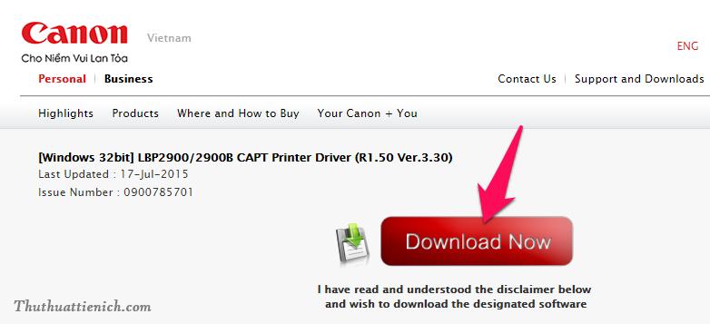 Sau khi nhấn vào liên kết tải về bên trên, bạn nhấn nút Download Now để tải driver về máy tính
