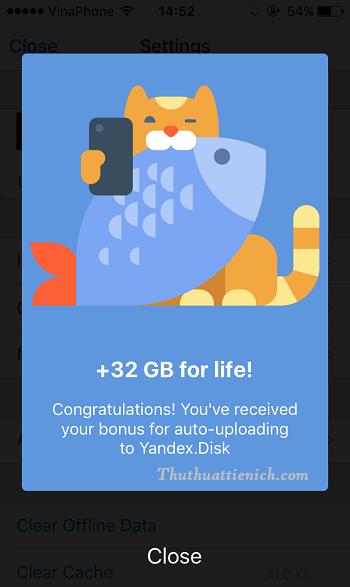 Chúc mừng bạn đã nhận được thêm 32GB vào tài khoản Yandex.Disk