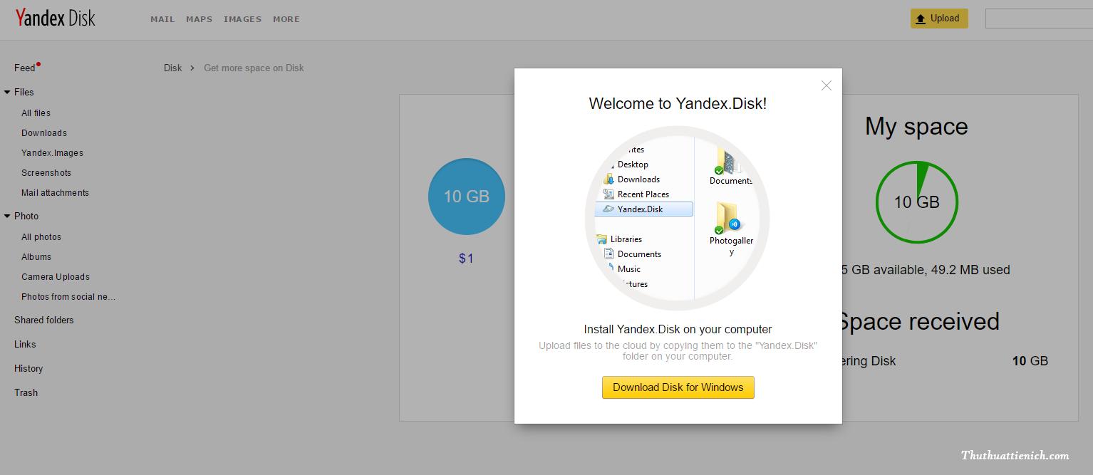 Như vậy là bạn đã đăng ký tài khoản Yandex.Disk thành công