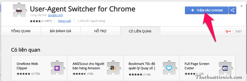 Cài tiện ích User-Agent Switcher for Chrome