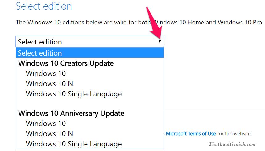 Kéo xuống phần Select edition sẽ thấy khung Select edition để lựa chọn phiên bản Windows 10 muốn tải về
