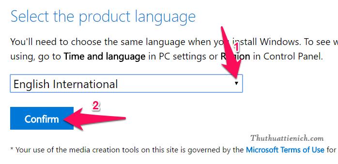 Chọn ngôn ngữ bộ cài rồi nhấn nút Confirm