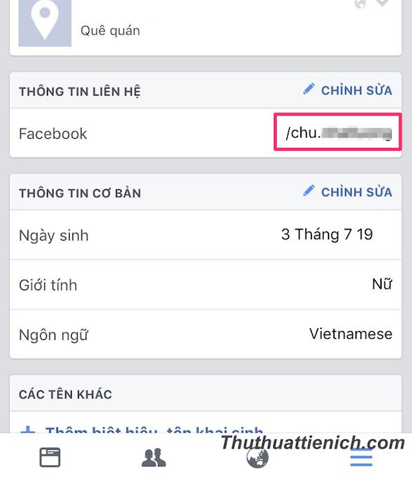 """Trong mục """"Thông tin liên hệ"""" sẽ có tên đường link Facebook của bạn"""