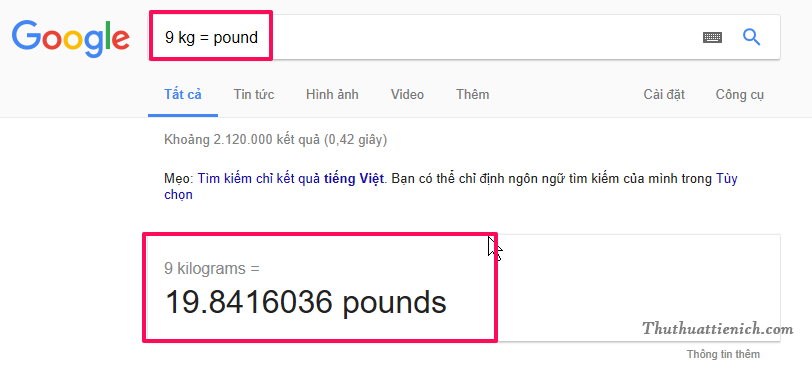 Cách chuyển dổi Kg sang Pounds